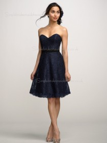 Natural Sweetheart Strapless A-line Black Sash/Applique Zipper Knee-length Lace Bridesmaid Dress