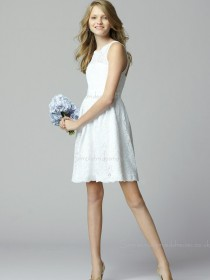 High Neck Zipper White Natural Belt/Applique Sleeveless Lace A-line Short-length Bridesmaid Dress