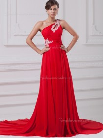Red Zipper Chiffon A-line Sweep Empire Sleeveless Beading/Ruffles One Shoulder Bridesmaid Dress