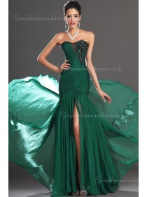 Beading/Applique Zipper Sweep A-line Hunter Chiffon Sleeveless Bateau Dropped Bridesmaid Dress