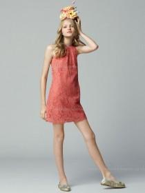 Mini Watermelon Natural A-line Lace High Neck Zipper Applique Sleeveless Bridesmaid Dress