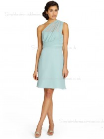 Sleeveless Short-length Chiffon Backless Empire Column Sheath One Shoulder Green Bridesmaid Dress