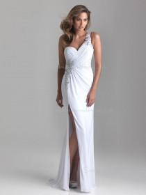Column Sheath Sleeveless Dropped Sweep Chiffon One Shoulder White Beading/Ruffles Backless Bridesmaid Dress
