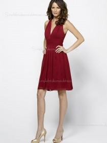 Short-length Sleeveless A-line Fuchsia V-neck Backless Draped Chiffon Empire Bridesmaid Dress