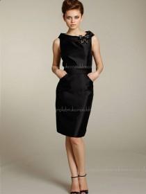 Satin High Neck Sleeveless Zipper Black Knee-length Column Sheath Natural Flowers Bridesmaid Dress