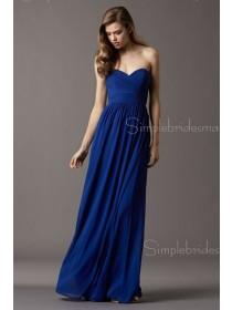 Chiffon Royal Blue Sweetheart Empire Column Sheath Sleeveless Floor-length Ruffles Zipper Bridesmaid Dress