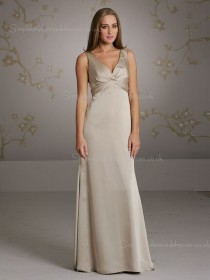 Empire V-neck A-line Zipper Sleeveless Chiffon Floor-length Champagne Ruffles Bridesmaid Dress