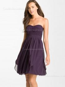 Sleeveless Chiffon Sweetheart Short-length Grape Empire Tiered/Ruched A-line Zipper Bridesmaid Dress