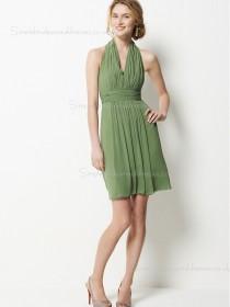 Sleeveless Zipper Halter A-line Chiffon Sage Draped/Sash Short-length Empire Bridesmaid Dress