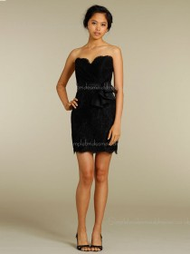 Sleeveless Flowers Column Sheath Mini Zipper Sweetheart Lace Black Natural Bridesmaid Dress