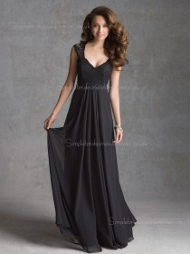 Floor-length V-neck A-line Black Empire Applique Sleeveless Lace/Chiffon Zipper Bridesmaid Dress