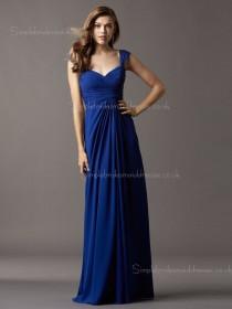Empire Chiffon Royal Blue Column Sheath Draped Sleeveless Floor-length V-neck Zipper Bridesmaid Dress