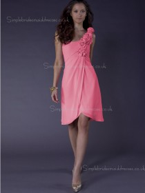 Zipper Flowers/Ruffles Knee-length A-line Sleeveless Chiffon Watermelon One Shoulder Empire Bridesmaid Dress