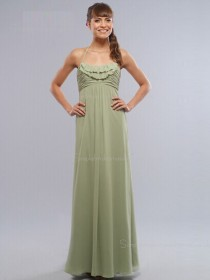 Zipper Sage Sleeveless Bateau Column Sheath Chiffon Floor-length Empire Ruffles/Tiered Bridesmaid Dress