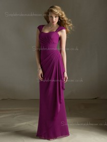 Cap Sleeve Draped/Tiered Bateau Natural Zipper Fuchsia Column Sheath Floor-length Chiffon Bridesmaid Dress