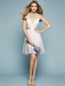V-neck Zipper Cap Sleeve White Organza Tiered A-line Knee-length Empire Bridesmaid Dress