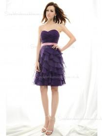 Zipper Regency Sleeveless Chiffon Knee-length Empire Tiered/Ruched/Sash Sweetheart A-line Bridesmaid Dress