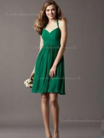 Knee-length Ruffles Dark Green Empire Zipper Halter Chiffon A-line Sleeveless Bridesmaid Dress