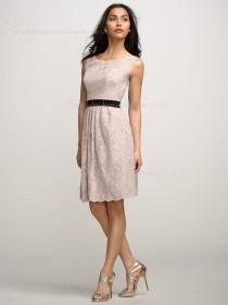 Natural A-line Lace Indy Pink Sleeveless Applique/Sash Backless Bateau Knee-length Bridesmaid Dress
