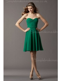 Dark Green Sleeveless Chiffon Natural Zipper A-line Short-length Ruffles/Belt Sweetheart Bridesmaid Dress