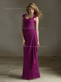 Floor-length Empire Tiered/Draped Straps Chiffon Fuchsia Column Sheath Zipper Sleeveless Bridesmaid Dress