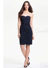 Zipper Ruched/Bow Knee-length A-line Sweetheart Dark Navy Sleeveless Natural Bridesmaid Dress