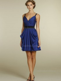 Satin Zipper Sleeveless Royal Blue A-line Empire V-neck Short-length Ruffles Bridesmaid Dress