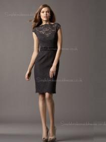 Zipper Cap Sleeve Bateau Black Natural Column Sheath Applique/Sash Lace Short-length Bridesmaid Dress