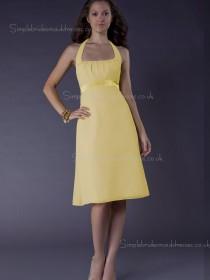 A-line Daffodil Satin Sash Zipper Bateau Empire Sleeveless Knee-length Bridesmaid Dress