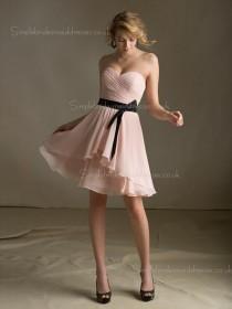 Chiffon A-line Zipper Tiered/Belt Sweetheart Dropped Sleeveless Knee-length Indy Pink Bridesmaid Dress