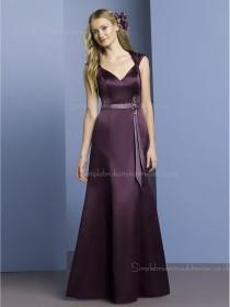 Zipper Floor-length A-line Natural Satin Grape V-neck Sleeveless Belt/Beading Bridesmaid Dress