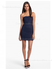 Zipper Dark Navy Sleeveless Column Sheath Natural Lace Mini Applique Bateau Bridesmaid Dress