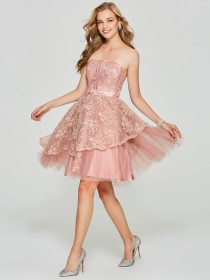 Exquisite Cheap Pink A-Line Strapless Lace Backless Short Bridesmaid Dress