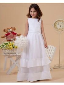 A line Sleeveless Organza/Satin Scoop Ivory Floor length Zipper Sash/Bow Flower Girl Dress