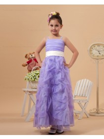 Ankle Length Sleeveless Column/Sheath Spaghetti Straps Satin/Organza Lilac Zipper Ruffles Flower Girl Dress