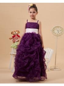 Floor length Sleeveless Zipper Spaghetti Straps Grape Sash Ball Gown Organza/Satin Flower Girl Dress