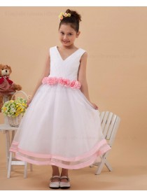 V neck Hand Made Flower Zipper White Tulle Ankle Length Sleeveless A line Flower Girl Dress