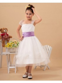 Tea Length Belt A line Bateau Organza Sleeveless White Zipper Flower Girl Dress