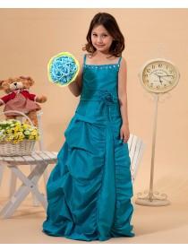 Sleeveless Ruffles/Beadings/Hand Flower Hunter Taffeta Floor length Spaghetti Straps Zipper Column/Sheath Flower Girl Dress
