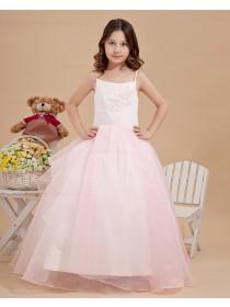 White/Pink Zipper Sleeveless Spaghetti Straps Ball Gown Floor length Taffeta/Organza Applique/Beading Flower Girl Dress