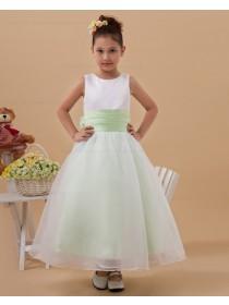 Bow White/Green A line Floor length Scoop Sleeveless Taffeta/Organza Zipper Flower Girl Dress