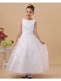 Zipper Satin/Tulle Scoop A line White Sleeveless Belt/Hand Made Flower Floor length Flower Girl Dress