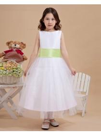 Hand Made Flower/ Zipper Sleeveless Bow/Belt Satin/Organza Ivory Bateau Ankle Length A line Flower Girl Dress