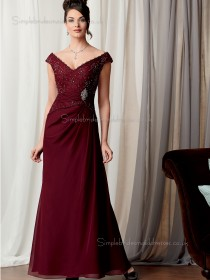 Burgundy Beading A-line Floor-length Chiffon Cap Sleeve Zipper Natural V-neck Mother of the Bride Dress