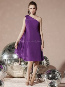 Sleeveless Dropped One-Shoulder Chiffon Knee-length Purple A-line Flowers Bridesmaid Dress