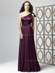 Natural Sleeveless A-line Sash-Ruched-Ruffles Chiffon One-Shoulder Floor-length Grape Bridesmaid Dress