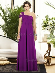 Sleeveless Zipper-Back Satin Ruched-Ruffles Floor-length Purple Empire A-line One-Shoulder Bridesmaid Dress