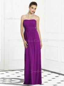 Column-Sheath Bateau Purple Sash-Ruched-Ruffles Empire Backless-Zipper-Back Sleeveless Floor-length Chiffon Bridesmaid Dress