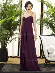 Sweetheart-Spaghetti A-line Floor-length Empire Ruched-Ruffles Grape Sleeveless Chiffon Straps Backless-Zipper-Back Bridesmaid Dress