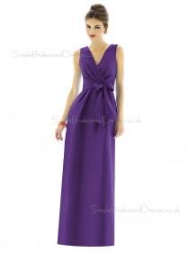 Empire V-neck Column-Sheath Purple Floor-length Zipper-Back Satin Sleeveless Bowknot-Ruched Bridesmaid Dress